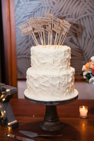rustic wedding cake flag