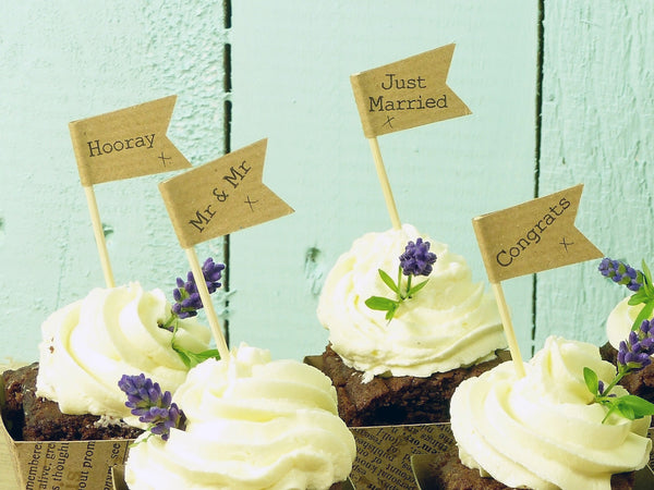 Mr & Mr wedding cupcake flag brown craft