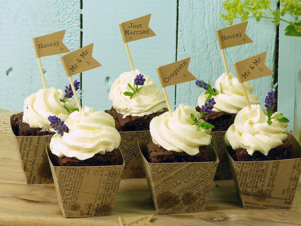 brown craft wedding cupcake topper mr and mr