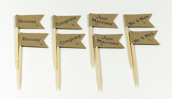 Mr & Mrs Brown craft Wedding cupcake topper personalised cake flags