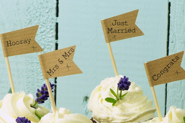 brown craft wedding cupcake topper mrs and mrs