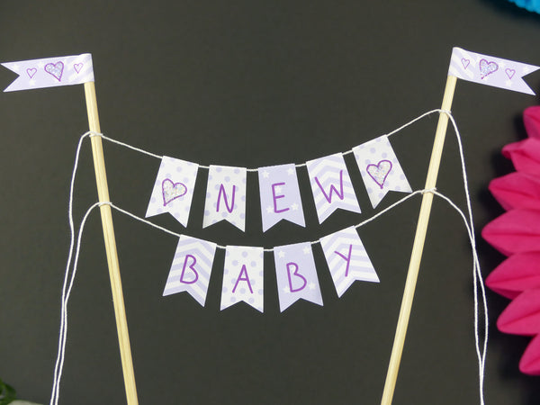 New baby shower lilac cake bunting
