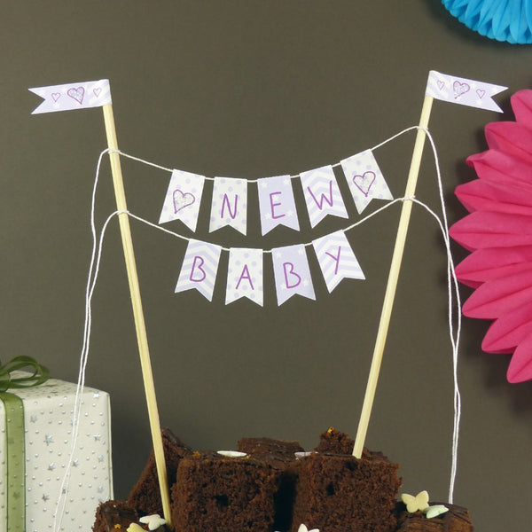 Lilac baby shower neutral cake bunting
