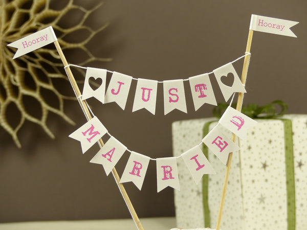 Just married pink wedding cake bunting
