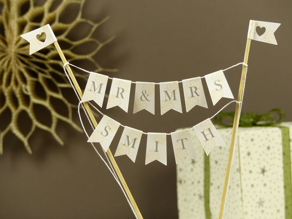 Mr & Mrs ivory wedding cake bunting personalise