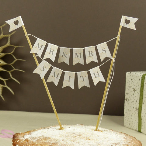 Custom Mr & Mrs ivory cake bunting