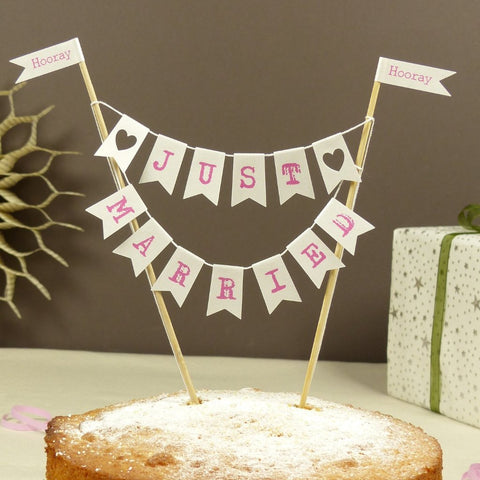 Hot pink Just married pink cake bunting