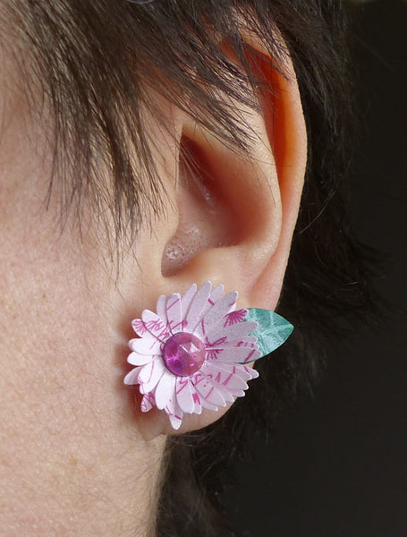 Pink paper daisy earrings Paper flower jewellery