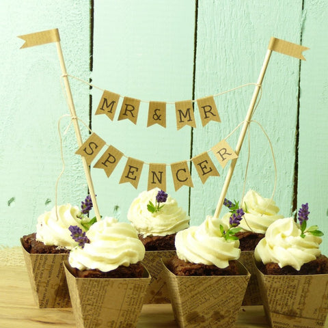 Mr & Mr wedding cake bunting personalise