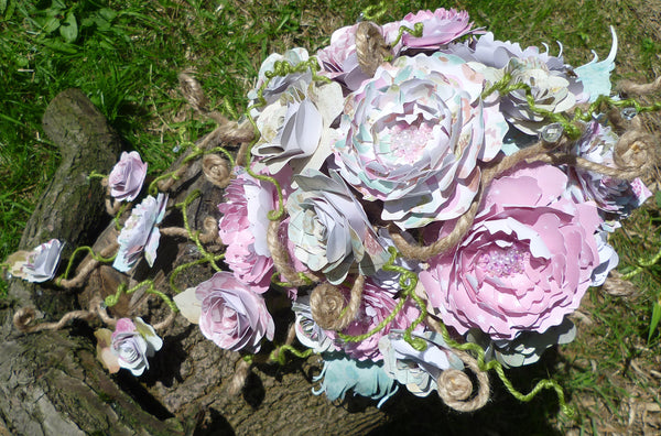 Paper flower rambling roses and peony cascade bridal bouquet
