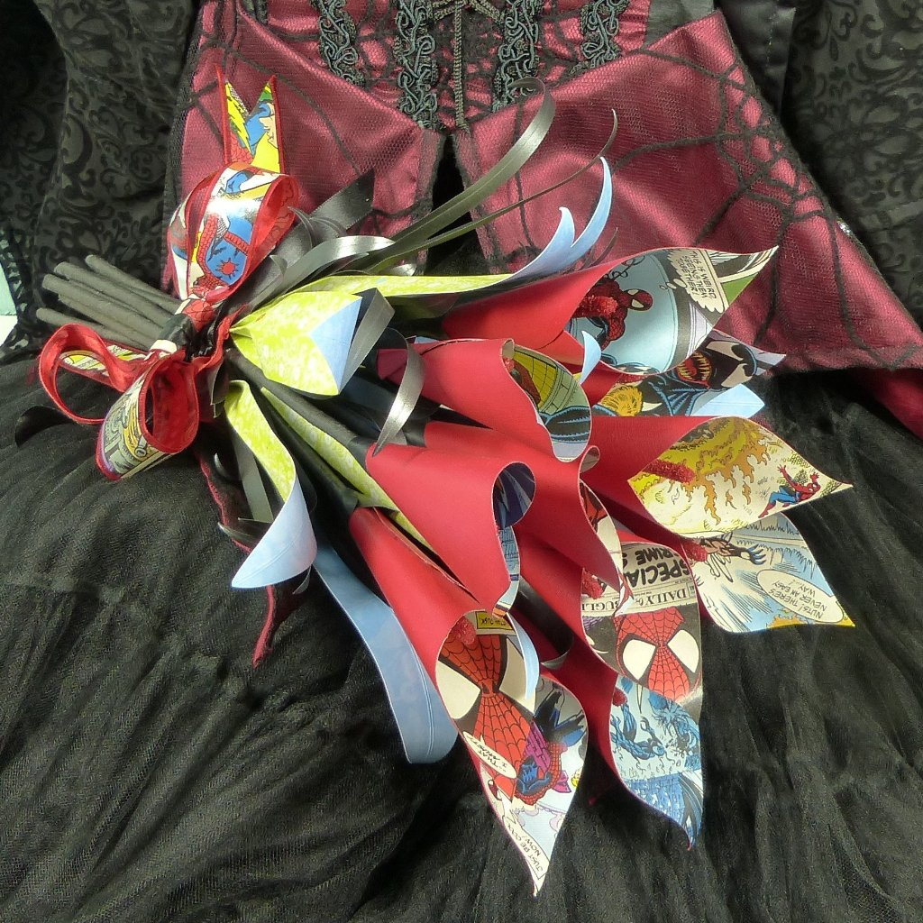Comic book bouquet Spiderman calla lily bridal bouquet Alternative fake flowers