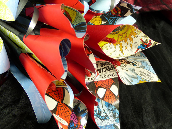 Spiderman comic book paper wedding flowers