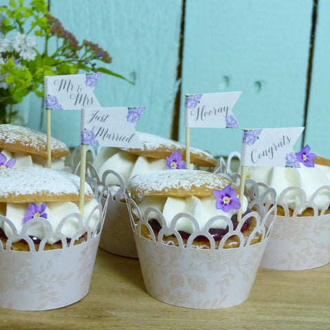 Lilac wedding cupcake topper