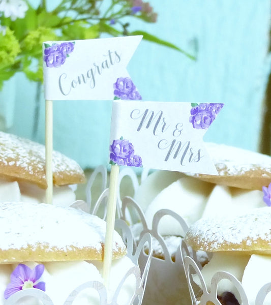 purple wedding cupcake flag