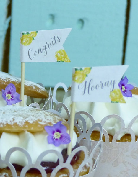 wedding cupcake flag yellow
