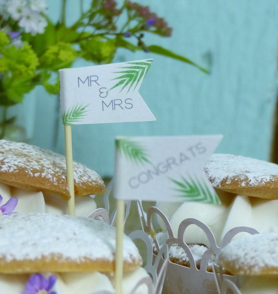 Tropical leaf wedding cupcake flag