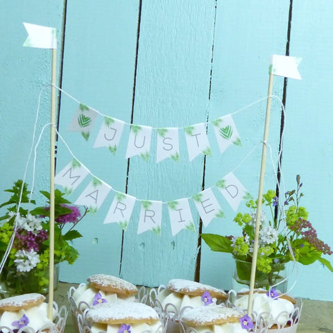 Tropical leaf Just Married cake topper Wedding cake bunting