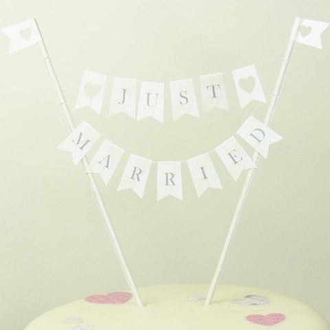 ivory and slate just married cake bunting