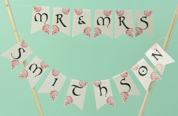 ustom wedding cake bunting his and hers