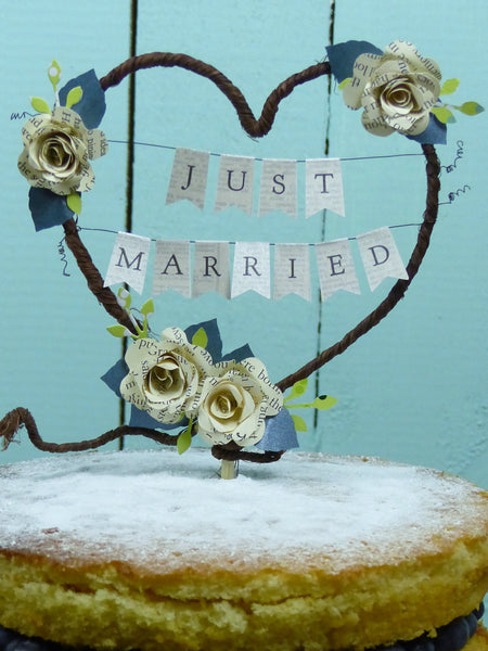 Book rose rustic cake topper