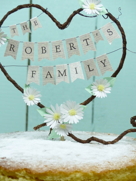 The 'new' Family Rustic heart Wedding cake topper Personalised name bunting