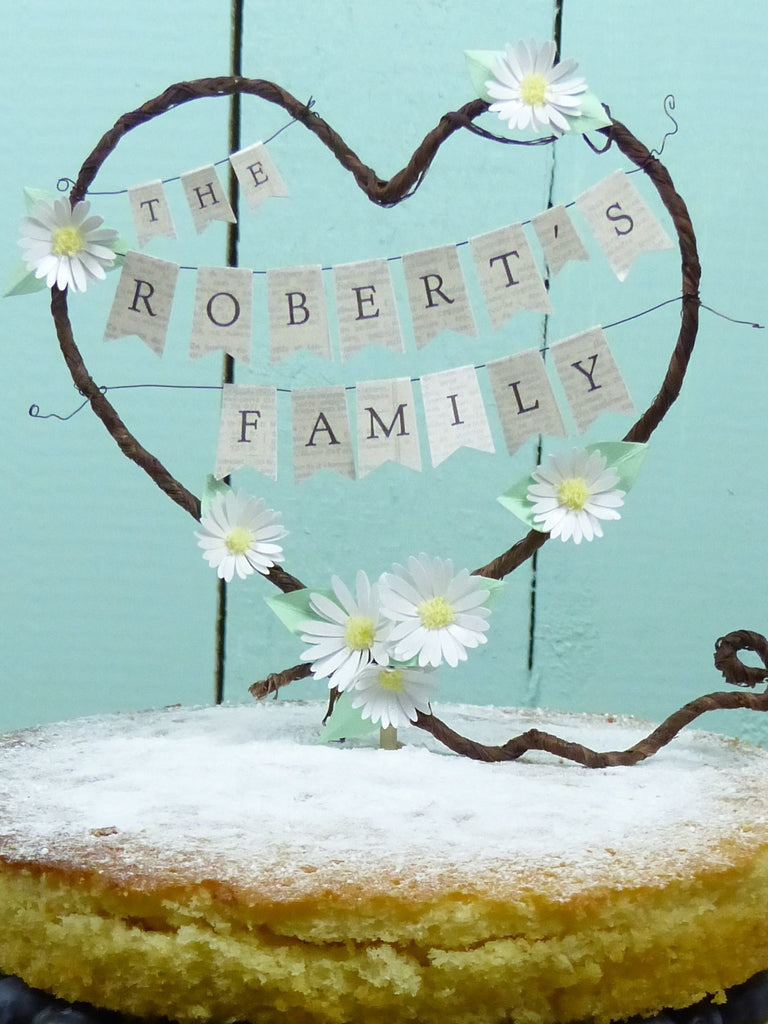 The New Family Rustic Heart Wedding Cake Topper Personalised Name