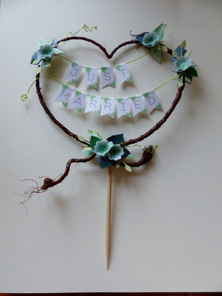 Succulent Just Married Rustic heart wedding cake topper bunting