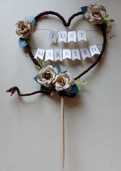 Book rose Just Married Rustic heart wedding cake topper bunting