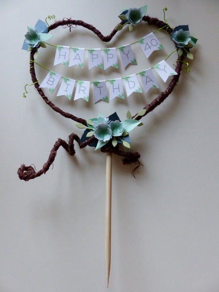 Greenery & rustic heart Birthday cake topper Personalised age bunting