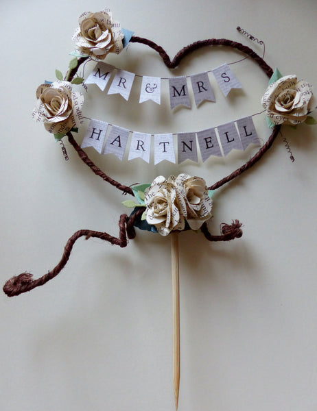 Mr and Mrs new married name Rustic heart cake topper Personalised name bunting
