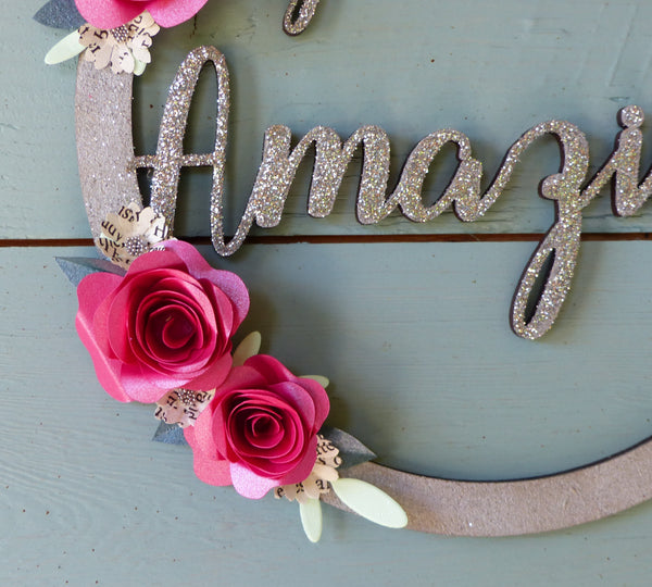 You are amazing hoop Postive words wall hanging paper flowers