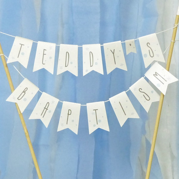 Blue white & grey Modern style stars & moon Baptism bunting