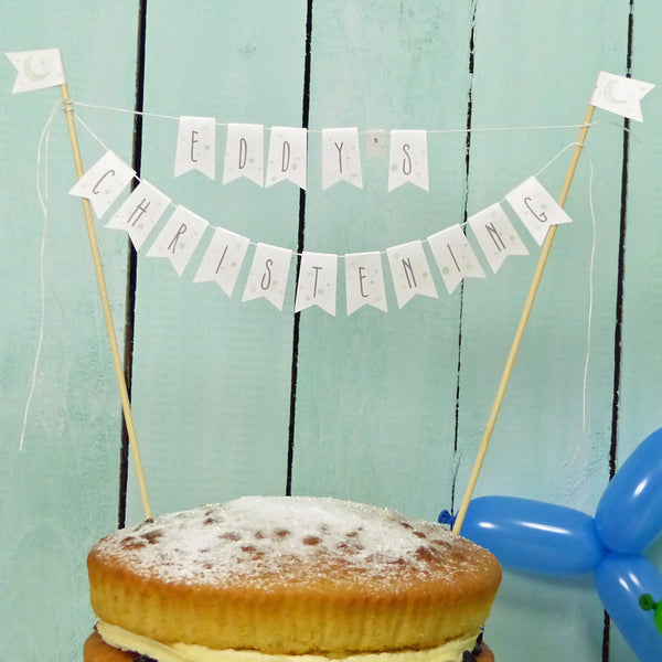 Mint green moon & stars personalised Christening cake bunting