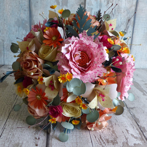 Summer sunset pink & orange paper flower bouquet
