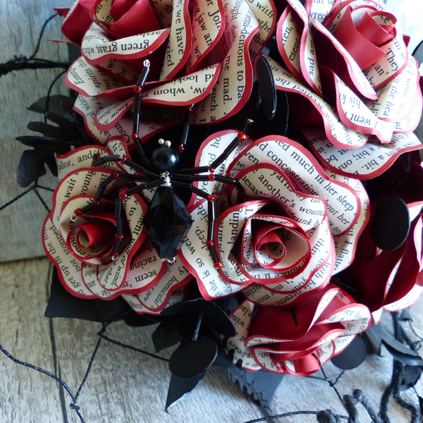 Book bouquet Dracula paper wedding flowers