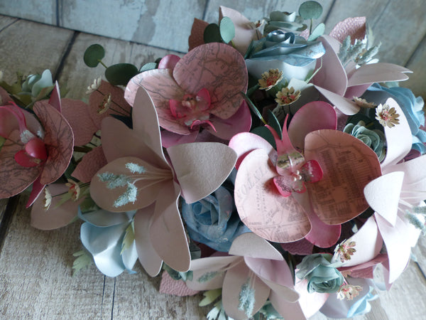 Pretty in pink glamourous ice cream colour paper flower cascade bouquet