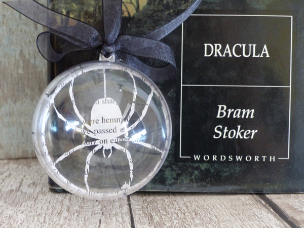 Trio of paper cut silhouettes from Dracula paper bauble Whitby Abbey, Howling wolf & spider