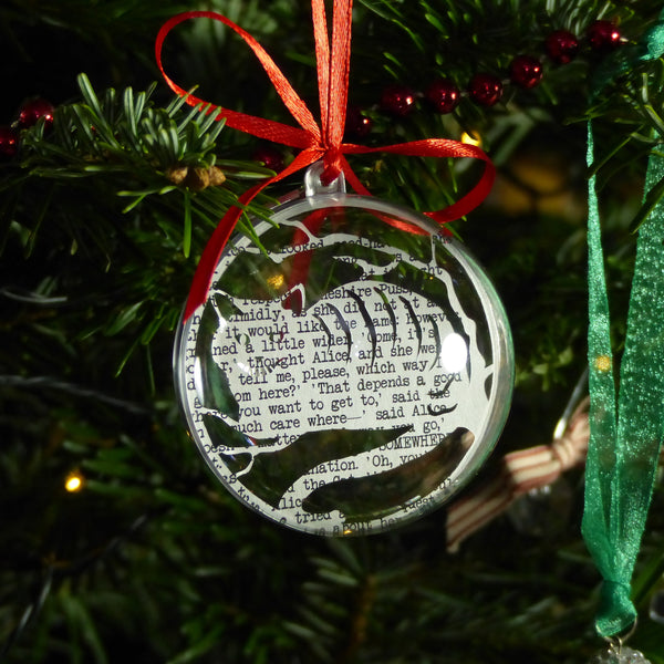 Cheshire cat paper cut bauble made from bookpage red ribbon playing card charm
