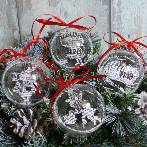 4 alice in wonderland paper cut baubles Alice, the hatter, The cheshire cat & the White rabbit