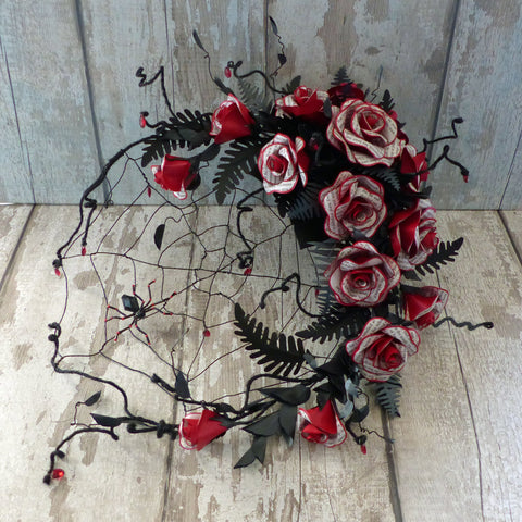 Book theme wedding bouquet Dracula red Alternative fake flowers