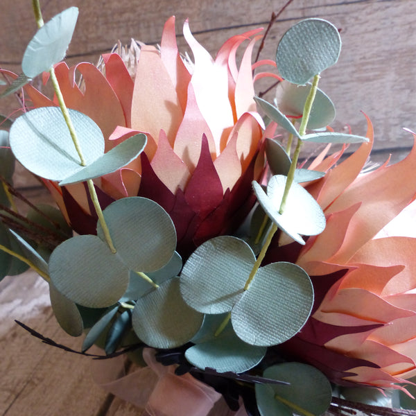 King Protea bouquet paper flower posy