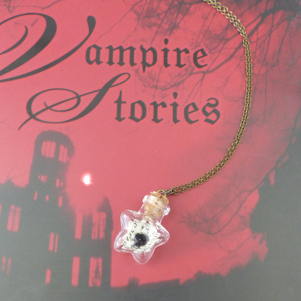 Dracula book daisy bottle necklace