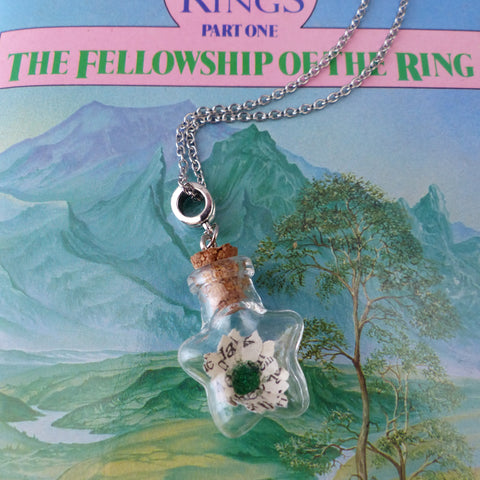 LOTR book daisy in star shaped bottle on silver colour chain