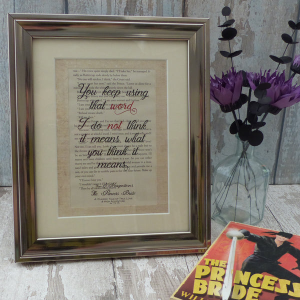 frame print using page from the princess bride