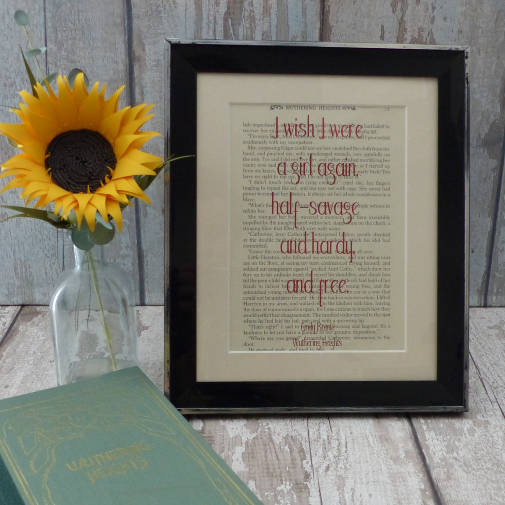 Emily Bronte girl quote book art