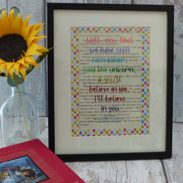 Alice in Wonderland unicorn rainbow quote