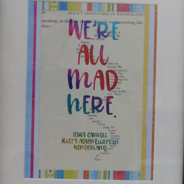 We're all mad here rainbow glitter print