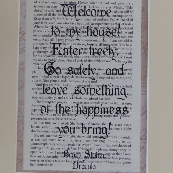 Goth house warming gift Dracula quote
