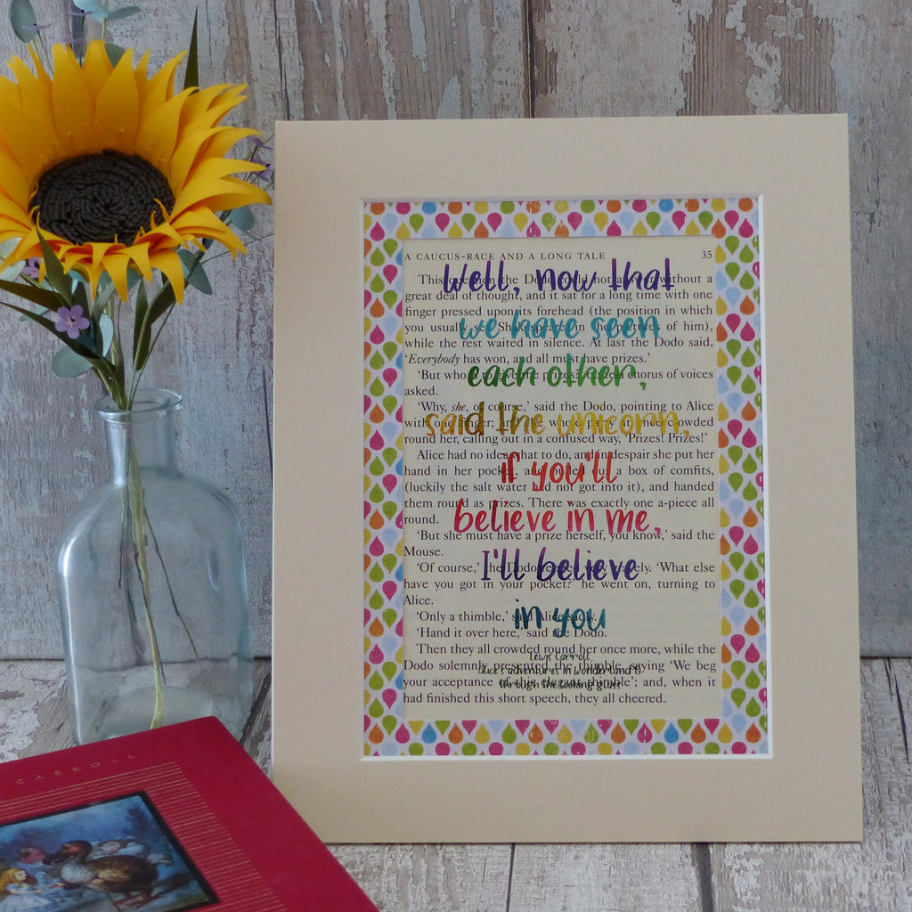 Lewis Carroll Believe in me quote book art