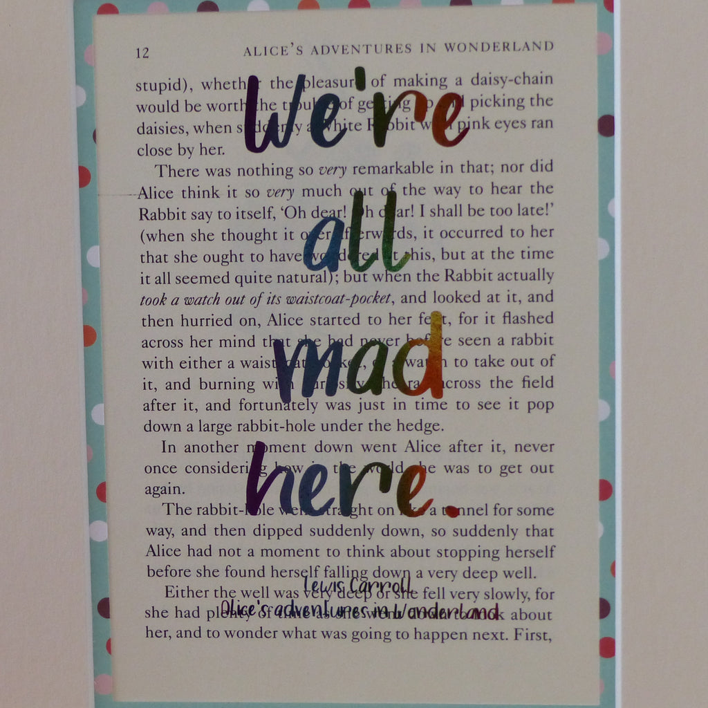 Rainbow we're all mad here book art